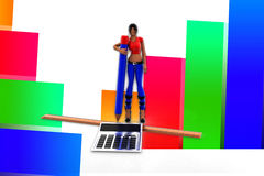 3d women Calculator Scale Pen Royalty Free Stock Photography