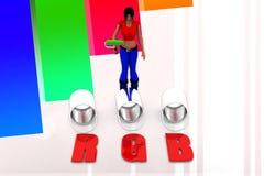 3d women Can RGB Illustration Stock Image