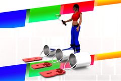 3d women Can RGB Illustration Royalty Free Stock Photography