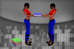 3d women  carry  books illustration Stock Images