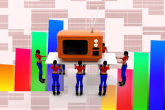 3d women carry television illustration Royalty Free Stock Photos