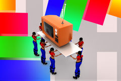 3d women carry television illustration Stock Photo