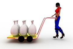 3d women carrying bags in cart Stock Photo