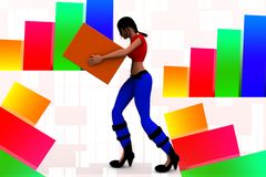 3d women carrying cargo illustration Stock Images
