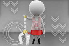 3d women  with carrying object illustration Royalty Free Stock Photo