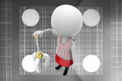 3d women  with carrying object illustration Stock Images