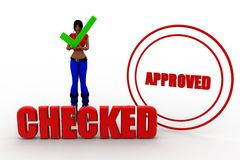 3d women checked approved Stock Photos