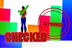 3d women checked approved illustration Stock Photo