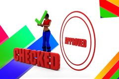 3d women checked approved illustration Royalty Free Stock Photos