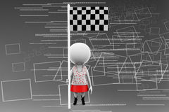 3d women checker flag illustration Royalty Free Stock Photography