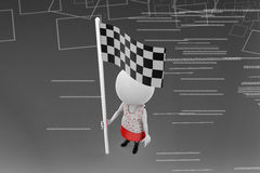 3d women checker flag illustration Royalty Free Stock Image