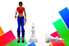 3d women chess illustration Stock Images