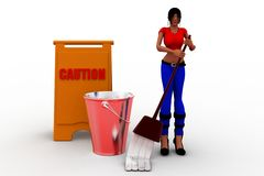3d women cleaning caution Stock Photo