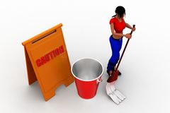 3d women cleaning caution Stock Photography