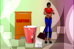 3d women cleaning caution illustration Royalty Free Stock Photos