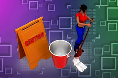 3d women cleaning caution illustration Stock Photo