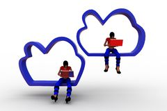 3d women cloud computing illustration Royalty Free Stock Image