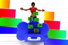 3d Women cloud essential icons Stock Photos