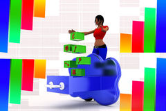 3d Women cloud essential icons Royalty Free Stock Photography
