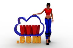 3D Women cloud internet service icon  with www and .com text Stock Photo