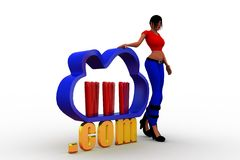3D Women cloud internet service icon  with www and .com text Royalty Free Stock Photography