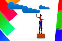 3d women Cloud Network Illustration Royalty Free Stock Photography