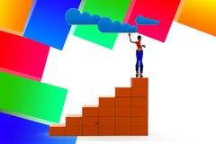3d women Cloud Network Illustration Stock Images