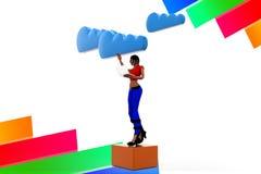 3d women Cloud Network Illustration Royalty Free Stock Image