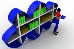 3D women cloud shelf book concept Royalty Free Stock Image