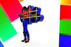 3D women cloud shelf book illustration Stock Image