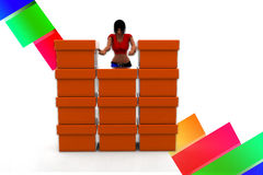 3d Women collecting cargo Illustration Royalty Free Stock Image