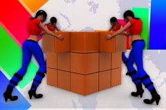 3d Women collecting cargo illustration Royalty Free Stock Photo