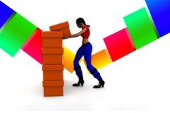 3d Women collecting cargo Illustration Royalty Free Stock Photos