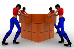 3d Women collecting cargo Royalty Free Stock Images
