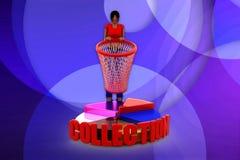 3D women collection pie chart illustration Stock Photos