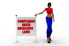 3d women Compliance, Rules, Regulations and Guidelines Royalty Free Stock Photography
