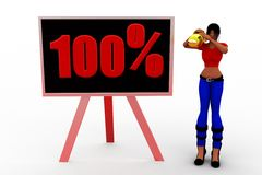 3d women 100% concept Royalty Free Stock Photo