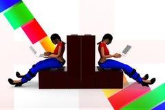 3d women construction laptop illustration Stock Photo