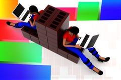 3d women construction laptop illustration Stock Image