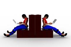3d women construction laptop illustration Stock Photos