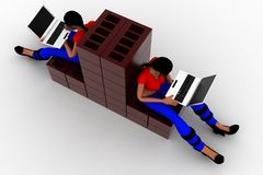 3d women construction laptop illustration Royalty Free Stock Images