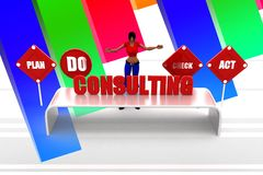 3d women consulting illustration Royalty Free Stock Photo