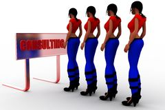3d Women Consulting Illustration Royalty Free Stock Photography