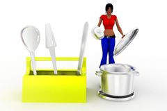 3d women cooking concept Royalty Free Stock Image