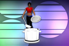 3d women cooking illustration Royalty Free Stock Photo