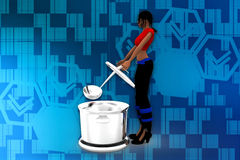 3d women cooking illustration Royalty Free Stock Photography