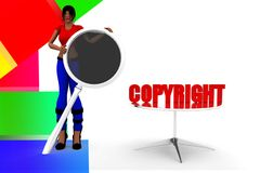 3d Women - copyright sign Royalty Free Stock Photography