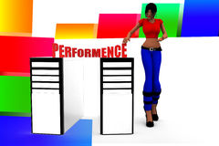 3d women cpu performance illustration Royalty Free Stock Photos