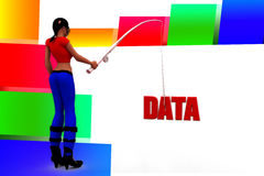 3d women data hunt Stock Photo