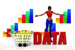3d women data hunt illustration Royalty Free Stock Photos